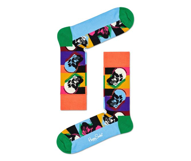 MEDIA-CASUAL-ANDY-WARHOL-SKULL-SOCK-MULTICOLOR